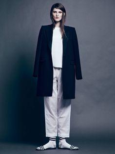 Pallas Moonlight Coat, Protagonist T-Shirt 01 in 4-Ply Silk Crepe - White, Raphaella Riboud Cropped Pajama Pant, NewbarK Roma Sandal - Black...