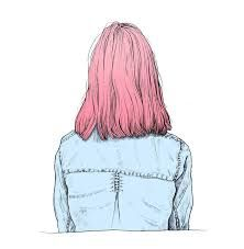 Image result for girl with blue hair drawing face