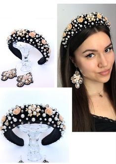 Black velvet crystal headband from beaded for hair and festival crown headpiece for a woman for a party or birthday, prom. Tiara Hairstyles, Flower Girl Hairstyles, Diy Hairstyles, Men's Hairstyle, Ponytail Hairstyles, Wedding Hairstyles, Black Headband, Crystal Headband, Fascinator