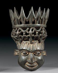 HELMET MASK Cameroon Bamileke. H 80 cm. Provenance: Old German private collection.