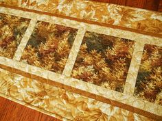 Quilted Fall Table Runner Autumn Table Runner Gold by susiquilts