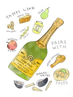 Blanquette de Limoux sparkling wine taste and food pairing illustration by Wine Folly French White Wines, Online Wine Store, Wine Folly, Wine Names, Make Your Own Wine, Tacos, Wine Education, Wine Guide, Wine Parties