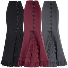 Gothic-Retro-Steampunk-Fishtail-Long-Maxi-Skirts-Ruffled-Vampire-Skirts-Dress