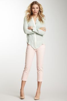 James Jeans Cori Cuffed Capri Jean with a Light Blue Blouse and Heels