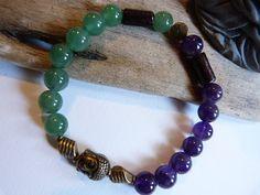 ᘛ ☽ Bracelet homme, ethnique en agate verte et améthyste ᘚ : Bijoux pour hommes par comme-un-homme
