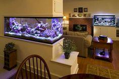 Fantastic Aquarium Partition For Living Room Design Living Room Partition Design, Room Partition Designs, Partition Ideas, Home Aquarium, Aquarium Design, Fish Tank Wall, Interior Decorating, Interior Design, Living Room Designs