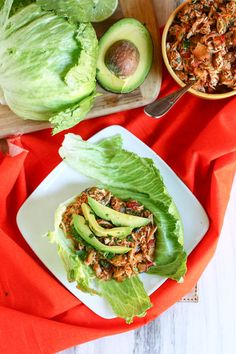 Mexican Chicken Lettuce wraps... or eat it over rice!! EASY: Put 3-4 chicken breasts in crockpot, cover with all natural taco seasoning, dump in 1 jar of your fav salsa, and 1/2 an onion chopped. Cook on high for 4-5 hours. You're ready to go!! DELISH!