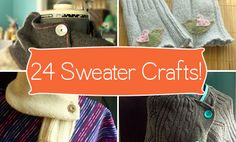 24 Ways to Reuse Old Sweaters. love the flower broaches and monster puppets Fabric Crafts, Sewing Crafts, Sewing Projects, Diy Projects, Old Sweater Crafts, Crafts To Make, Diy Crafts, Recycled Sweaters, Diy Clothing