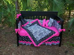 A MUST HAVE!!!   New Black White Polka Dot Zebra and Hot Pink fabrics Crib Bedding Set. $325.00, via Etsy.