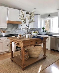 """P a i n t e d  F o x  H o m e™ on Instagram: """"HAD to share this kitchen again! It is one of my all time favorites. Irresistible! The white, the wood, the dark counters, the tile...…"""" Hamptons Kitchen, The Hamptons, Rustic Kitchen Design, Country Kitchen, Kitchen Small, Kitchen Designs, Kitchen Sink, Kitchen Cabinets, Interior Design Elements"""