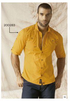 Camisa-manga-tres-cuartos-color-amarillo