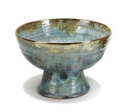 """Beatrice Wood Footed vessel Executed c. 1990 Gold-lustre and sea green glazed earthenware Signed """"Beato"""" 6.5"""" x 9.75"""" diameter"""