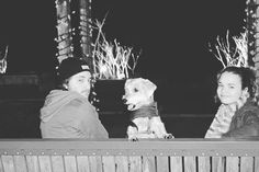 17. This is a picture of my cousin Charlie (my dog) and I at riverside with the Christmas lights