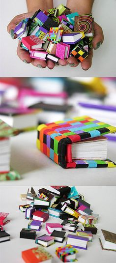 Mini handmade ribbon books by Abimael Estrada