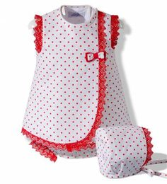 White and red linen dress with hood- Vestido de lino blanco y rojo con capota Dress with hood and summer frog for baby girl made in white linen with polka dots and red lace - Baby Frocks Party Wear, Baby Girl Frocks, Frocks For Girls, Toddler Girl Outfits, Toddler Girl Dresses, Little Girl Dresses, Kids Outfits, Girl Toddler, Baby Outfits