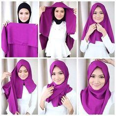 Hijab also known as veil or head scarf is often worn by Muslim women. Hijab is an Arabic word which means to hide from view. Hijab does have a significant role in Islam but is also famous in the western countries. Tutorial Hijab Segi 4, Square Hijab Tutorial, Simple Hijab Tutorial, Hijab Simple, Hijab Style Tutorial, Hijab Chic, Stylish Hijab, Modern Hijab, Islamic Fashion