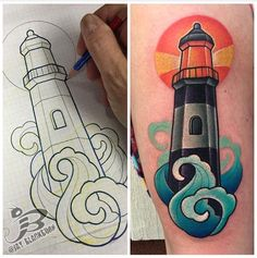 PowerLine Tattoo : Tattoos : Jay Blackburn : New School Lighthouse Tattoo