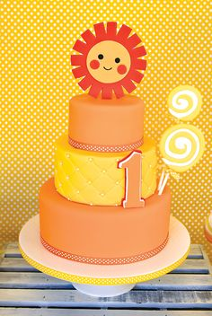 Sunshine & Lollipops First Birthday Cake