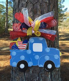4th of july door hangertruck with by Furnitureflipalabama on Etsy