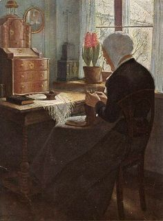 Lady Knitting by Window << #knitter # portrait #art