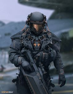 """Futuristic soldier, military concept art character design Robotic mech suit concept design ideas, futuristic cyber warrior fighter cyborg android in a fantasy robot suit armor """"Fusturistic soldier concept Credit: Suit Of Armor, Body Armor, Tactical Armor, Tactical Uniforms, Futuristic Armour, Sci Fi Armor, Future Soldier, Armor Concept, Concept Art"""