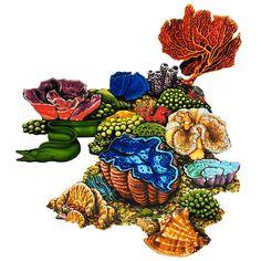 Coral Reef E Coral Reef Drawing, Coral Reef Art, Coral Reefs, Swimming Pool Mosaics, Swimming Pools, Underwater Art, Fish Drawings, Beneath The Sea, Tile Art