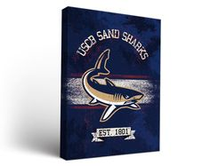South Carolina Beaufort Sand Sharks Classic Canvas Wall Art Rectangle