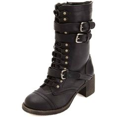 Charlotte Russe Bamboo Belted Mid-Heel Combat Boots ($43) ❤ liked on Polyvore featuring shoes, boots, black, mid-calf lace up boots, mid calf combat boots, mid-calf boots, military fashion and lace up combat boots