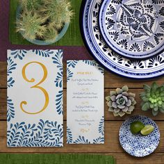 The table is set // Talavera menu and table numbers from our Talavera suite // Mexico wedding