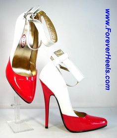 ForeverHeels Style DC_CUSTOM_R, 3cm & 1cm Ankle Straps, White and Red PU, Red Heels
