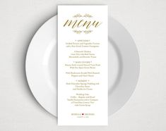 gold wedding menu template rustic wedding menu menu