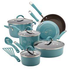 Rachael Ray Pots And Pans Cucina Enamel Nonstick Hard Porcelain Cookware Set #RachaelRay