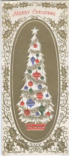 1960s Embossed Gold Tree Vintage Christmas Card