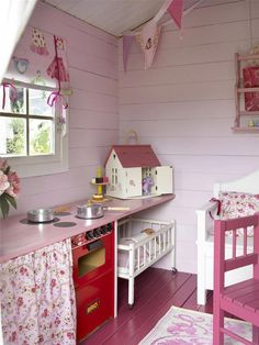 Shiplap and wood floors painted a fun girly color! And I love the idea of beadboard for the ceiling. Shiplap and wood floors painted a fun girly color! And I love the idea of beadboard for the ceiling. Playhouse Decor, Playhouse Interior, Outside Playhouse, Girls Playhouse, Backyard Playhouse, Build A Playhouse, Playhouse Ideas, Painted Playhouse, Cubby Houses