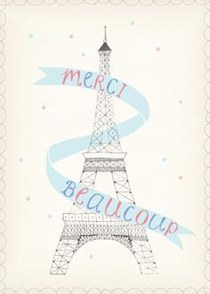 """Merci Beaucoup,"" a pretty print of a pencil & watercolor illustration by Amy of CAKE WITH GIANTS. ($30)"