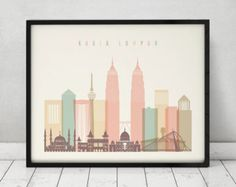 Kuala Lumpur art print Poster Wall art Skyline Travel