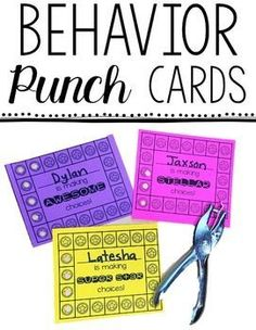 Behavior Punch Cards - This 66 page resource is great for helping your preschool, Kindergarten, or grade students earn punches and improve their behavior! Use them to support the behavior or classroom management system you already have in place! Classroom Behavior Management, Student Behavior, Behaviour Management, Classroom Reward System, Behavior Plans, Classroom Behavior Chart, Classroom Incentives, Discipline In The Classroom, Class Reward System