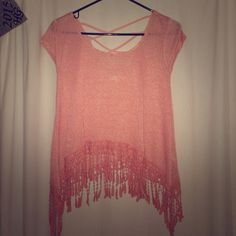 Pink Top Pink shirt with crossed back and crochet bottom. Never worn! Tops Tees - Short Sleeve