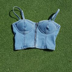 Cute denim bralette Guess denim bralette with working zipper down front. Cute to wear alone or pair with outfit! Guess Tops Crop Tops