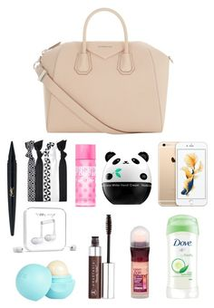 """""""What to have in your go-to bag!"""" by itsamandarose ❤ liked on Polyvore featuring Givenchy, Maybelline, Dove, Anastasia Beverly Hills, River Island, Happy Plugs, Tony Moly, Popband and Victoria's Secret PINK"""