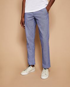 bd8adb214 Ted Baker Slim fit textured chinos Light Blue Blue Trousers