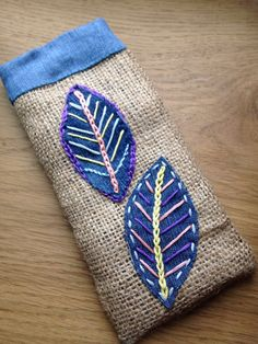 Your place to buy and sell all things handmade Hessian Fabric, Burlap, Homemade Food Gifts, Recycled Fabric, Leaf Design, Gifts For Girls, Hand Stitching, Sunglasses Case, Great Gifts