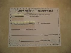 The Weekly Hive: Marshmallow Measurement & Measurement Kindergarten, Measurement Activities, Math Measurement, Kindergarten Math, Math Activities, Kindergarten Christmas, Math Games, Math Classroom, Classroom Ideas