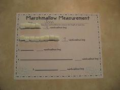 Marshmallow measurement!  Free activity to practice non-standard measurement.
