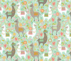 Llama Love large fabric by cjldesigns on Spoonflower - custom fabric