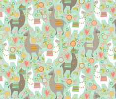 Llama Love large fabric by cjldesigns on Spoonflower - custom fabric