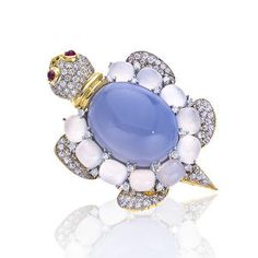 Bonhams 1793 : A diamond and chalcedony brooch, Valentin Magro
