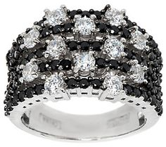 Diamonique Black Pave & Scattered Stones Ring, Sterling