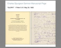 GIVEAWAY     Don't miss this opportunity to receive a **FREE** Charles Spurgeon Sermon Manuscript page from a sermon on 1 Peter 5:10!