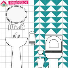 06 maneiras de renovar o banheiro com triângulos adesivos
